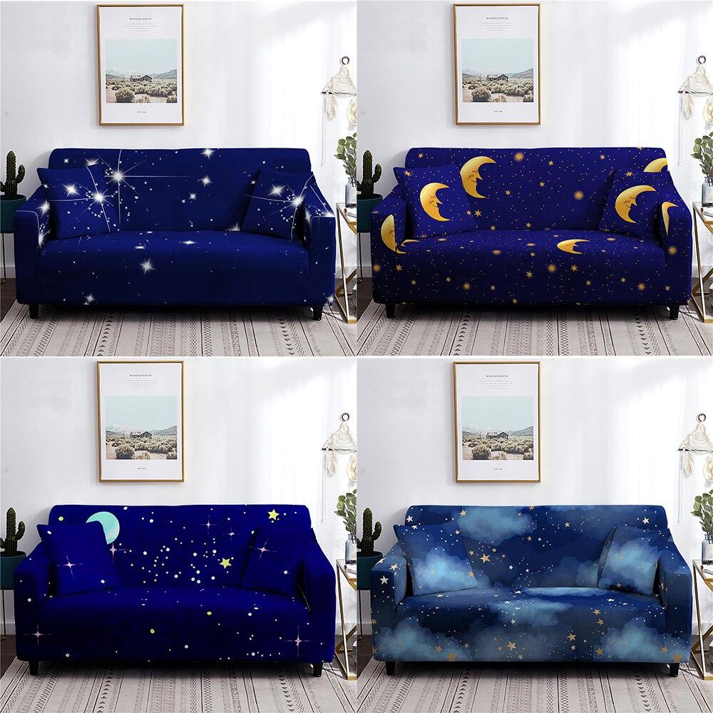 القمر نجوم سلسلة غطاء أريكة أريكة تمتد الأغلفة لغرفة المعيشة غطاء أريكة مرنة الأثاث ديكور 1/2/3/4 مقاعد