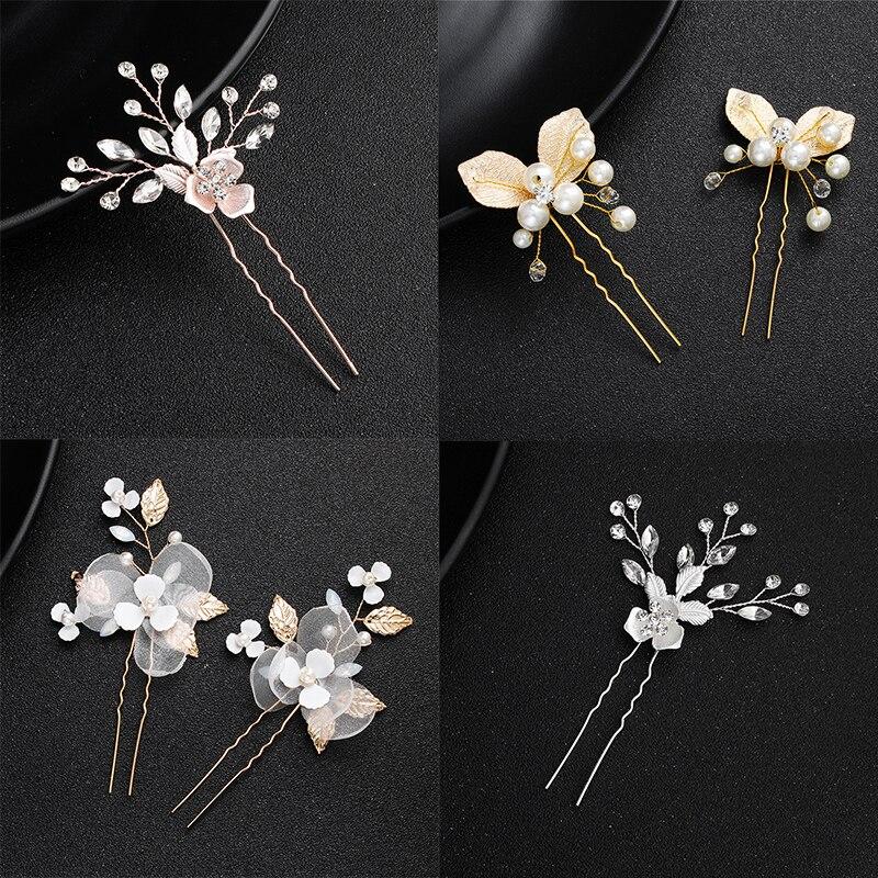 Gold Color Prom Bride Bridesmaid Hair Accessories Hair Pin Clip Luxury Crystal Rhinestone Wedding Hairpins Sticks For Women