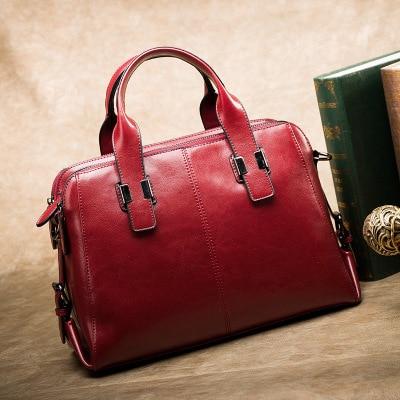 Sacos de couro genuíno para as mulheres 2020 nova boston saco grande senhoras mensageiro portátil ombro travesseiro saco de compras bolsa
