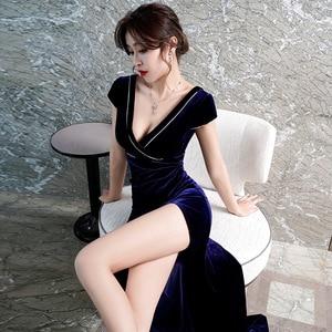 Evening Gown Night Long Dress New Velvet Temperament Nightclub Sexy High Split Evening Dress V-neck Robe Women Dress Elegant