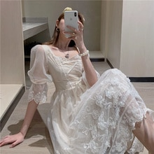 French Royal Style Girl's First Love Mori Style Princess Dress Spring/Summer Fairy Dress Tight Waist
