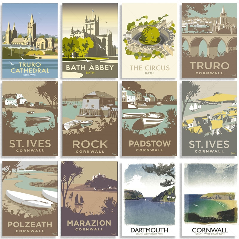 Cartoon Travel City Poster Padstow Truro Dartmouth Landscape Illustration Canvas Pictures for Home Decoration Interior Paintings