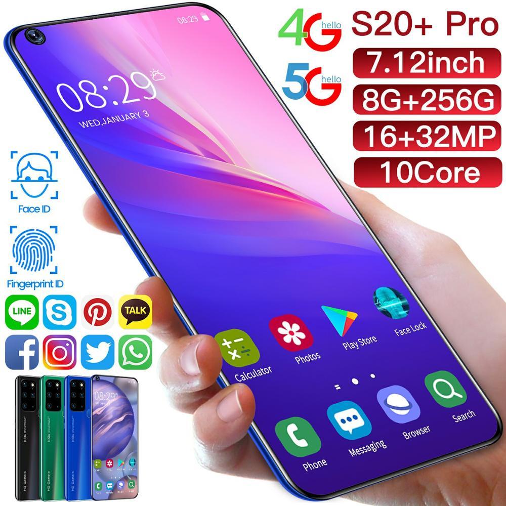 Galay-هاتف خلوي S20 ، شاشة 7.12 بوصة ، هاتف ذكي ، ذاكرة وصول عشوائي 8 جيجا بايت ، ذاكرة وصول عشوائي 256 جيجا بايت ، Snapdragon 855 ، Deca Core ، Android 10.0 ، شريحتين ، م...