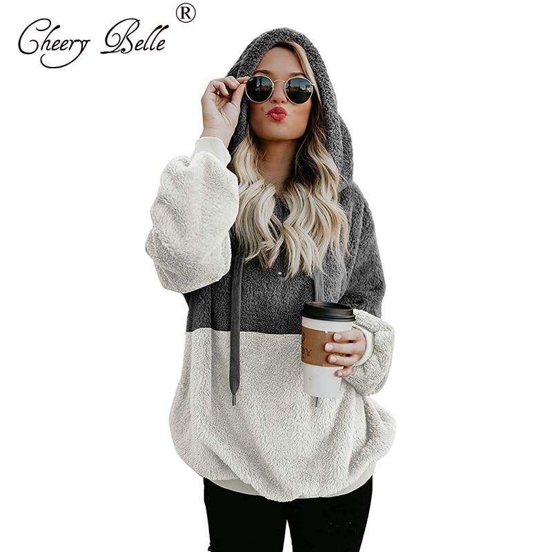 Womens oversized quente duplo fuzzy hoodies casual solto pullover moletom com capuz outwear