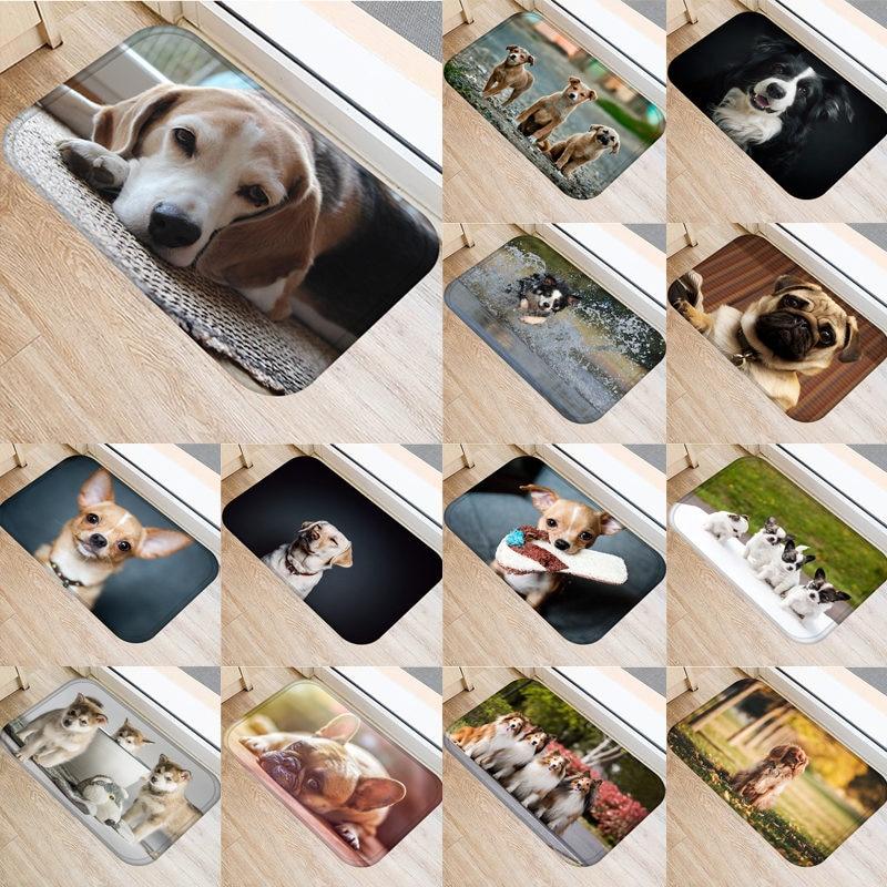 1pcs 40*60cm Cute Pug Husky Dog Pattern Anti-Slip Suede Carpet Door Mat Doormat Outdoor Kitchen Living Room Floor Mat Rug 48302