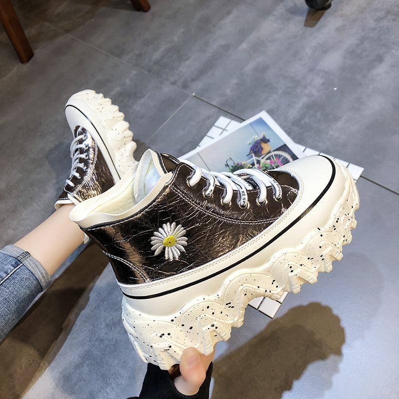 SWONCO Embriodery פרח פלטפורמת סניקרס נשים שמנמן שחור נעליים גבוהה למעלה 2020 אביב חדש נשי סיבתי נעלי שמנמן סניקרס