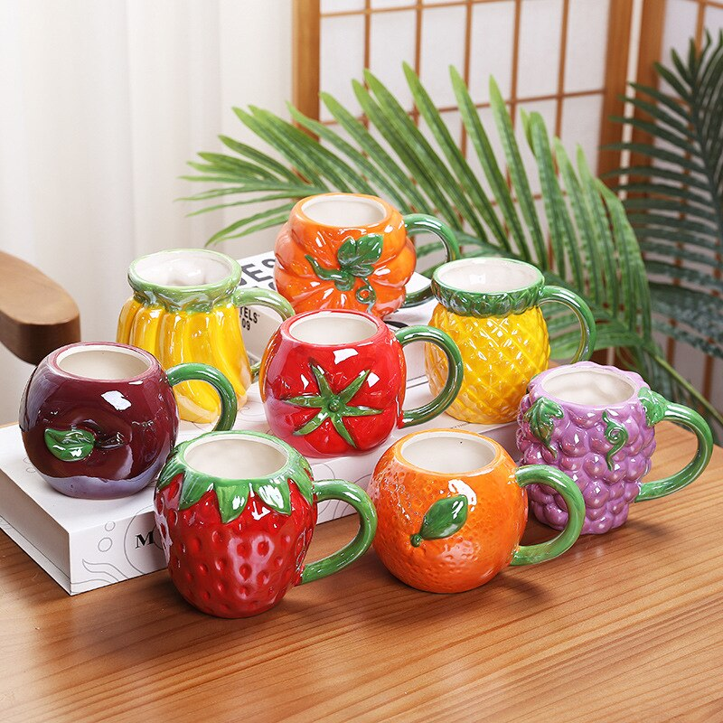 Taza de cerámica creativa Linda fruta colorida plátano uva manzana tomate taza personalizada agua de los niños taza para leche taza de oficina