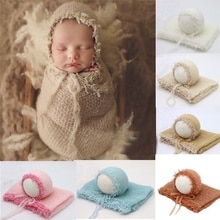 Newborn Photography Props Blanket  Mohair  Wrap  Swaddling Photography Hat Backdrop Babies Photo Shoot Accessories