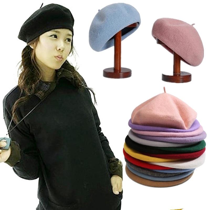 Vintage French Style Plain Beret Cap Beanie Hat Sweet Women Girls Autumn Winter Warm Hat Femme Hats Caps Street Cool Fashion