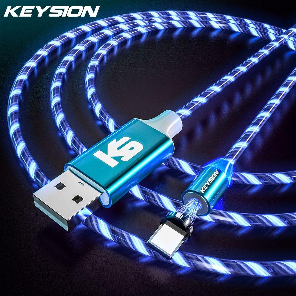 Cable de USB-C magnético KEYSION para Realme X2 Pro XT Q 5 Pro 3 C2 A9 Luz de flujo LED tipo C Cable de carga imán cargador Cables