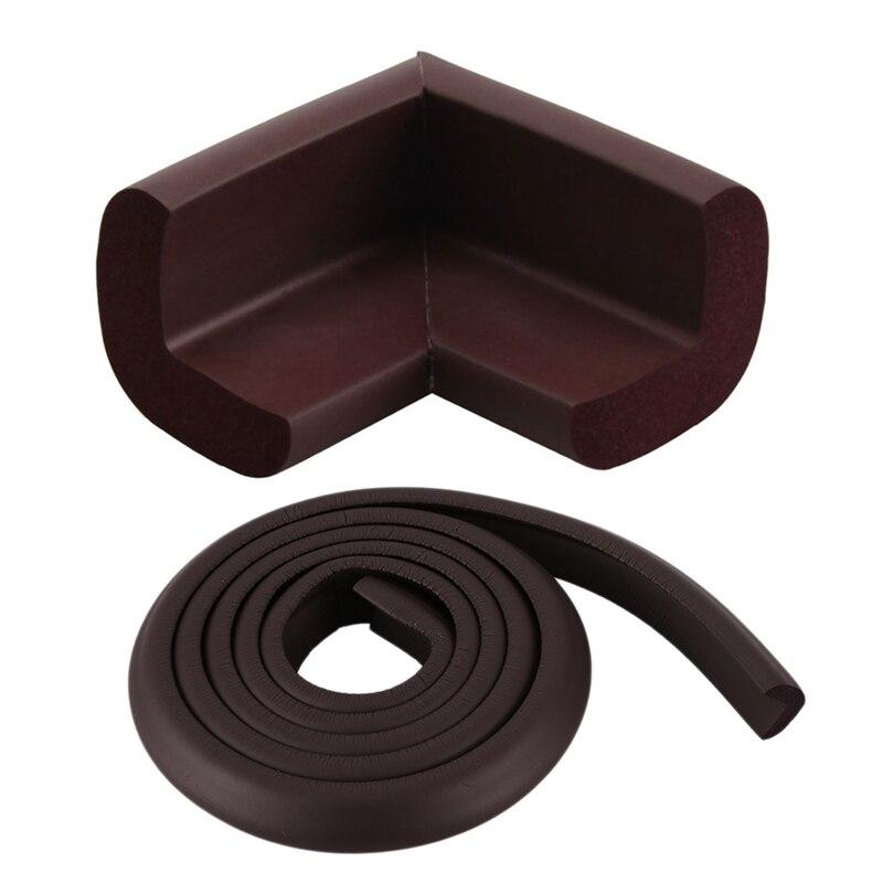 9 Pcs Guard Protectors: 8 Pcs Coffee Color Kids Furniture Desk Table Corner Bumper Cushion Guard Protectors & 1 Pcs Brown 2M Chi