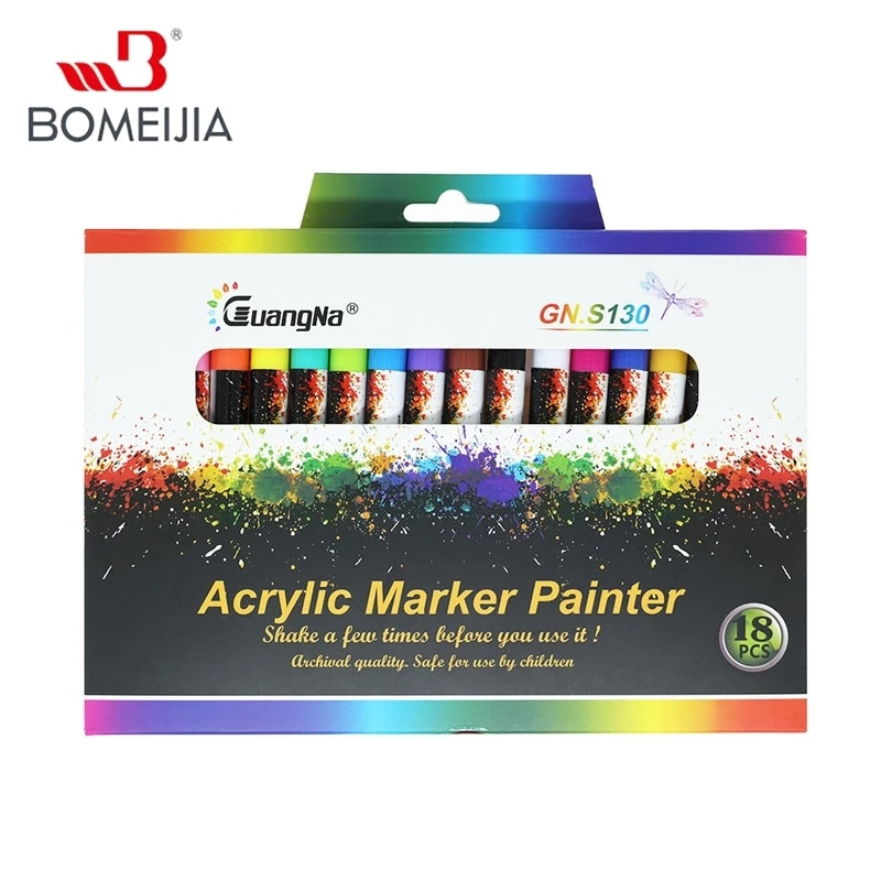 12/18/24/36 Colors 0.7mm Acrylic Paint Marker Pen Art Marker for Ceramic Rock Glass Porcelain Mug Wood Fabric Canvas Painting
