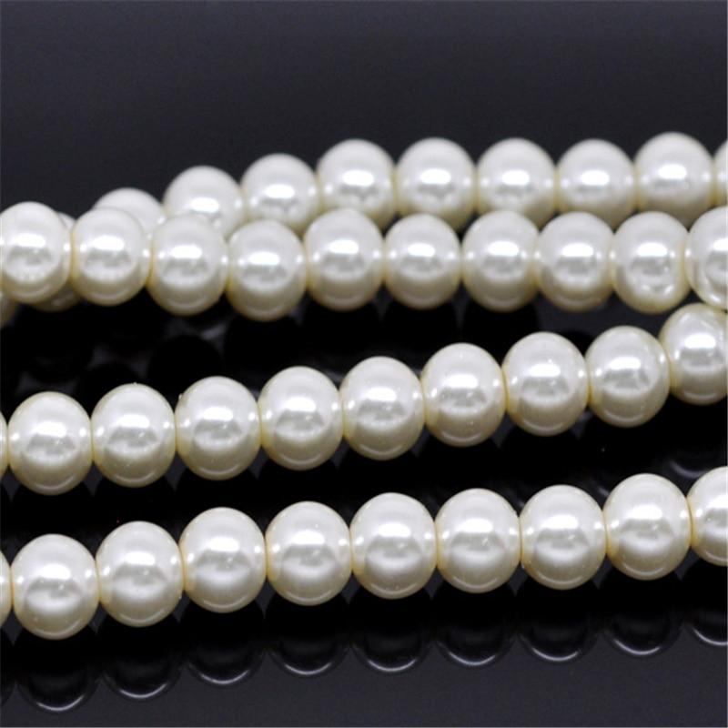 5 hebras Doreen caja redonda perlas de vidrio 8mm Color marfil para DIY moda pulsera collar joyería haciendo hallazgos 82cm