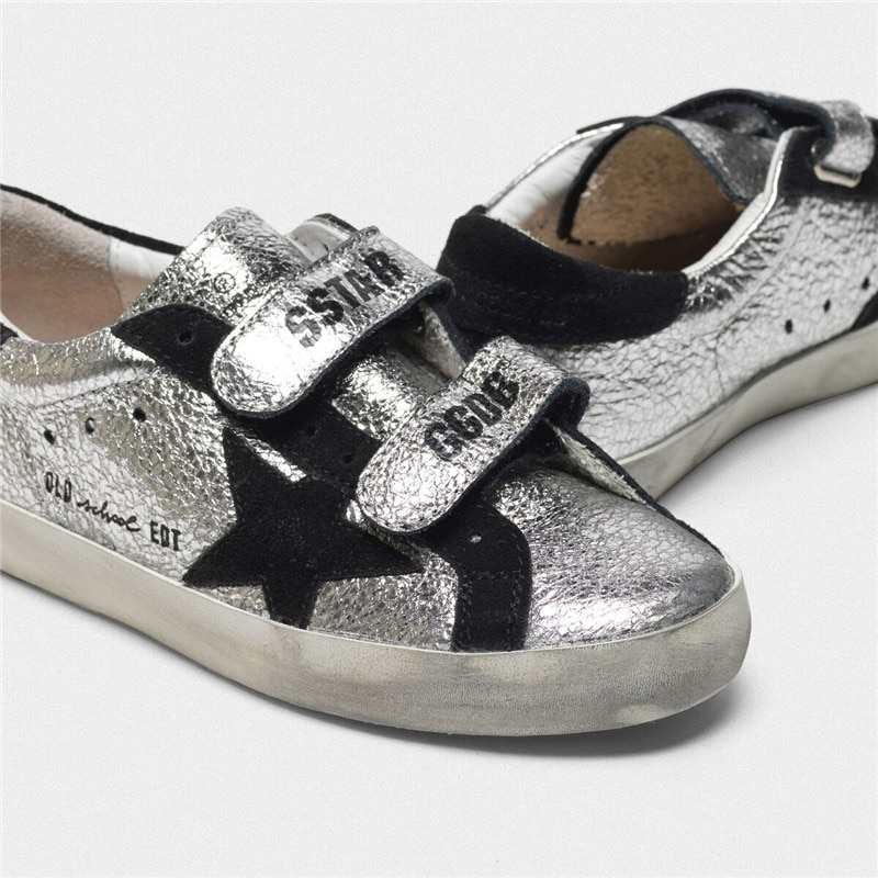 Children's Spring/Summer New Silver Patent Leather Retro Old Small Dirty Shoes Boys and Girls Casual Parent-child Shoes CS202 enlarge