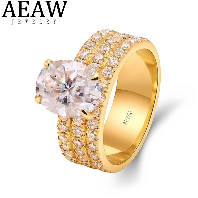 AEAW D اللون البيضاوي كربيد سيليكون مقطع الخطوبة هالو خواتم 2.0CT 7X9mm للنساء اختبار إيجابي حقيقي 18k الذهب الأصفر اختبار إيجابي