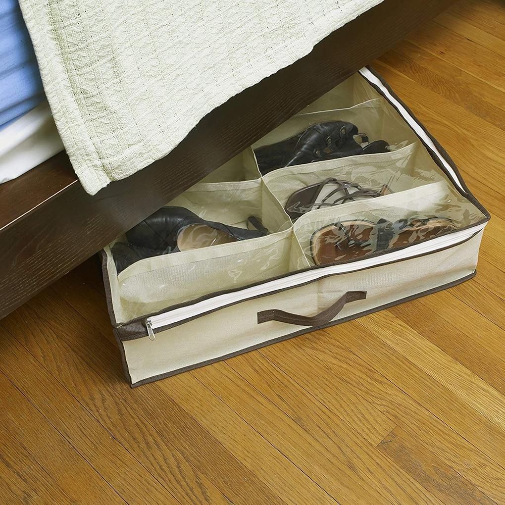 2pcs Nonwoven Transparent Creative Shoes Cabinet Dust-Proof 12 Grids Shoes Storage Bag Shoes Organizer Holder Box Under Bed Bag