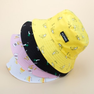 Double-faced Cartoon Fisherman Hat Spring and Summer Thin Banana Double Basin Hat Chips retro Lovers Sun hat Japanese Hat