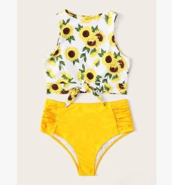 Bikini de dos piezas de mujer, traje de baño de nailon multicolor de talle alto, tankini para mujer, traje de baño de verano
