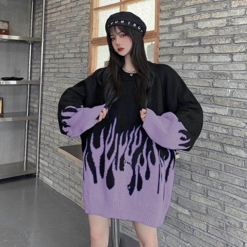 2021 spring new round neck loose sweater female flame jacquard sweater color matching loose ins net red hot clothes