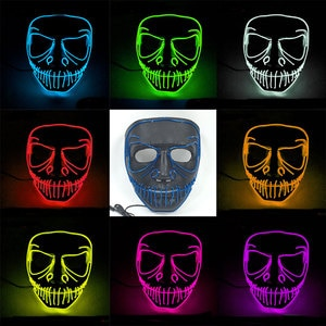 Halloween Led Mask Horror Costume Accessories Masquerade Party Decor Glowing EL Wire Mask Carnival Cosplay Mascara