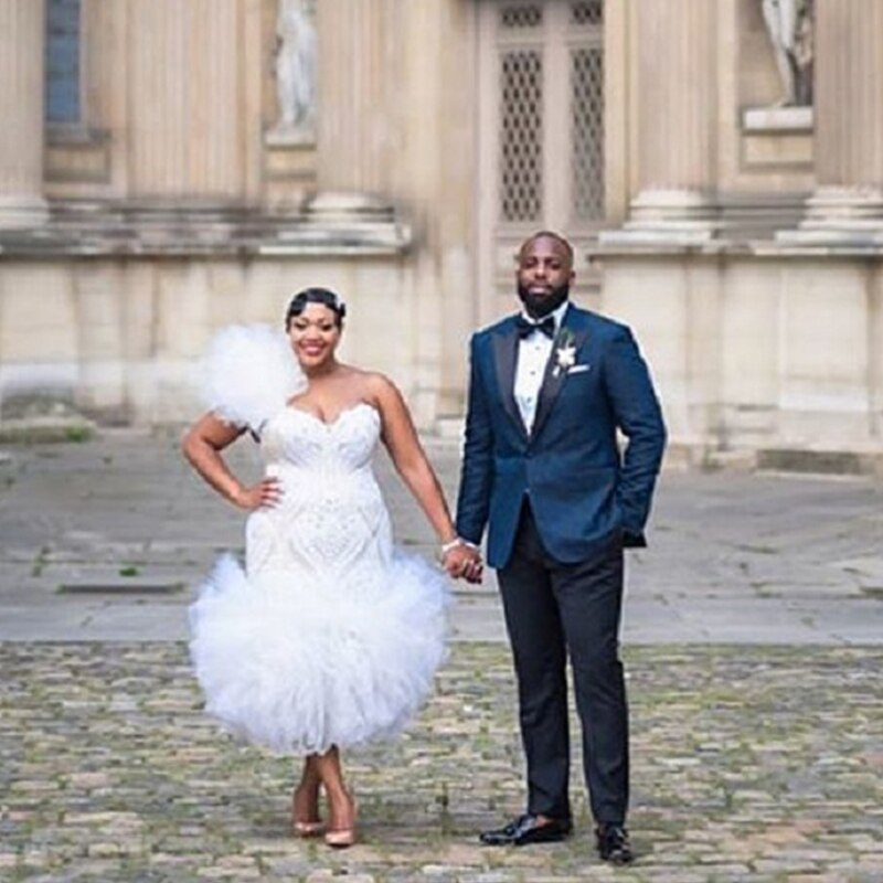 2019 nuevo vestido de novia sin mangas sirena de encaje bordado talla grande