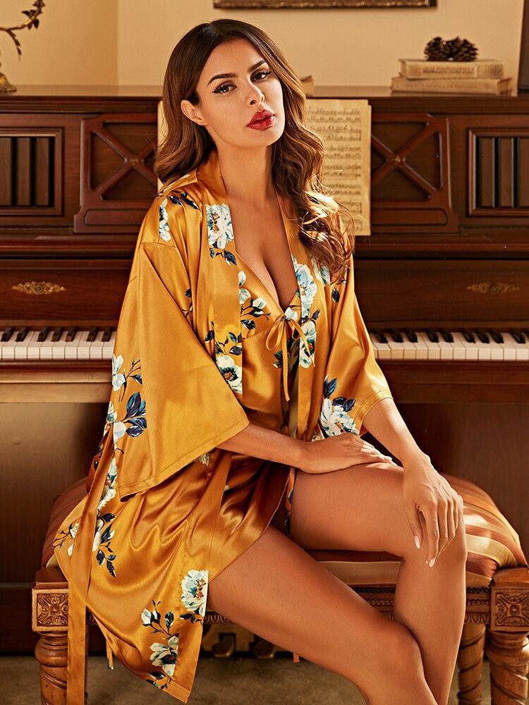 روب حمام مثير من قماش الجاكار مع ظهر مكشوف وفتحة رقبة على شكل v ، للنساء ، ملابس نوم ، للمنزل