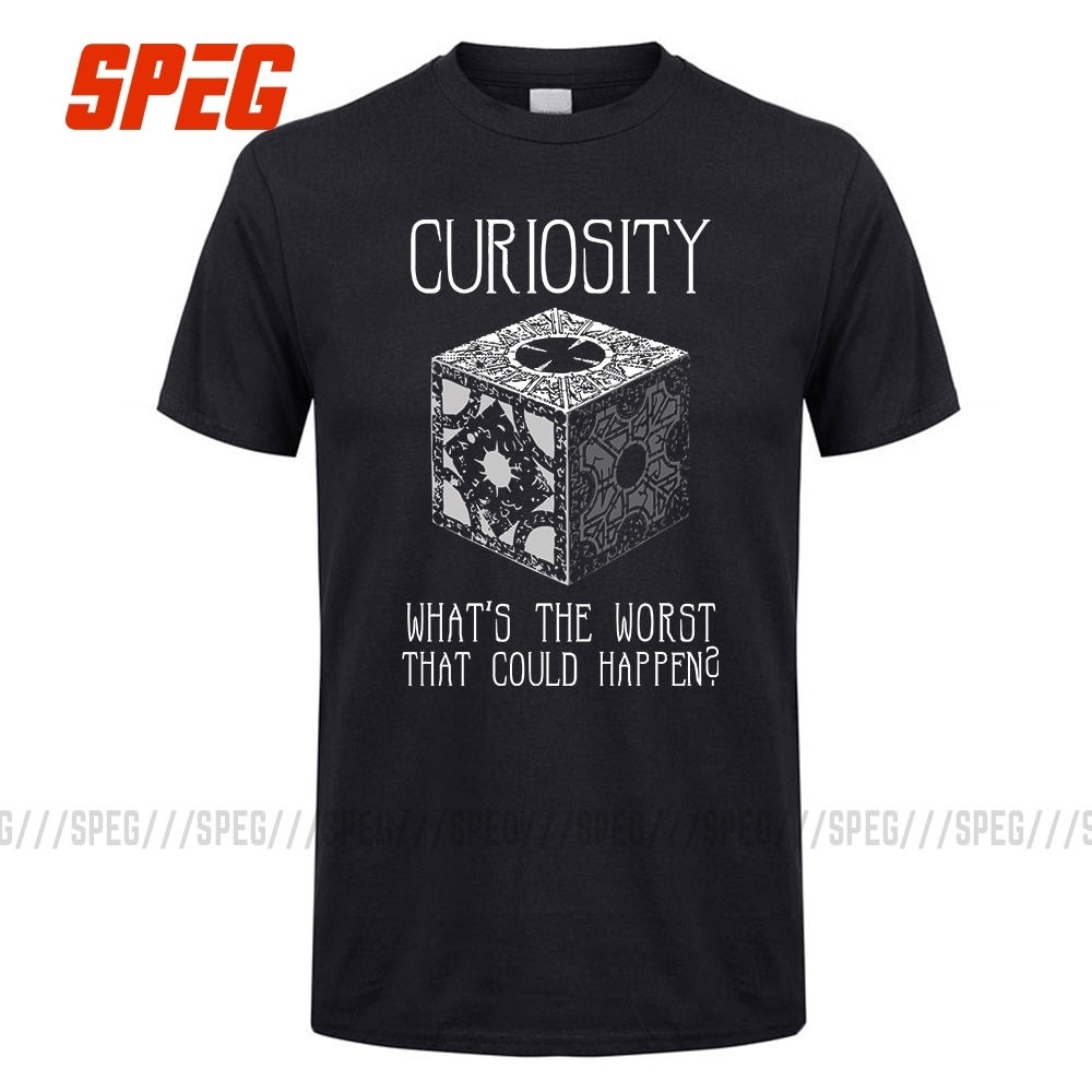 La curiosidad mató rompecabezas de Hellraiser caja hombres camisetas 100% de algodón de manga corta Camisetas gran descuento de los hombres de cuello redondo T camisas