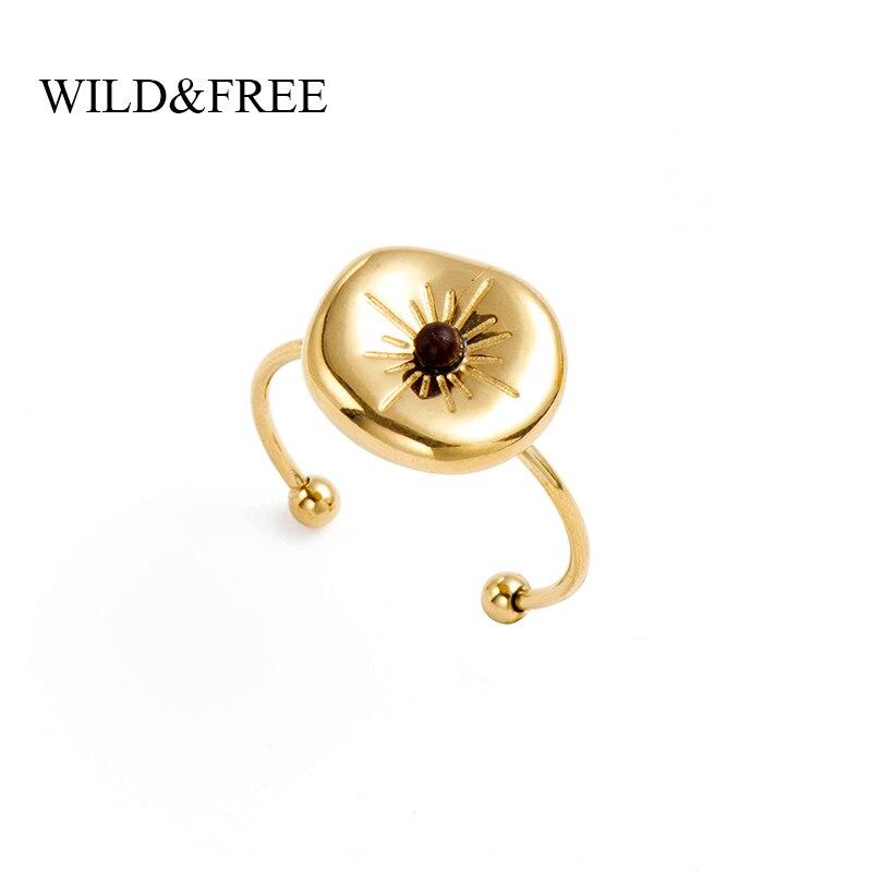 Dzika i wolna stal nierdzewna vintage pierścionki damskie złoto nieregularne okrągłe z kamiennymi koraliki gwiazdki otwarte wieżowych pierścieni Midi biżuteria