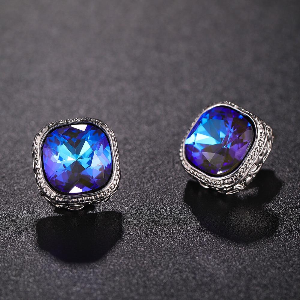 Luxury Female Crystal Rhinestone Clip on Earrings New Design Simple Square Gold No Pierced Ear Clips for Women Earrings Jewelry