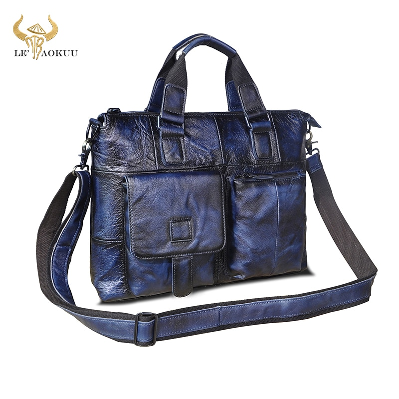 Men Quality Leather Blue Office Maletas Business Briefcase 15.6