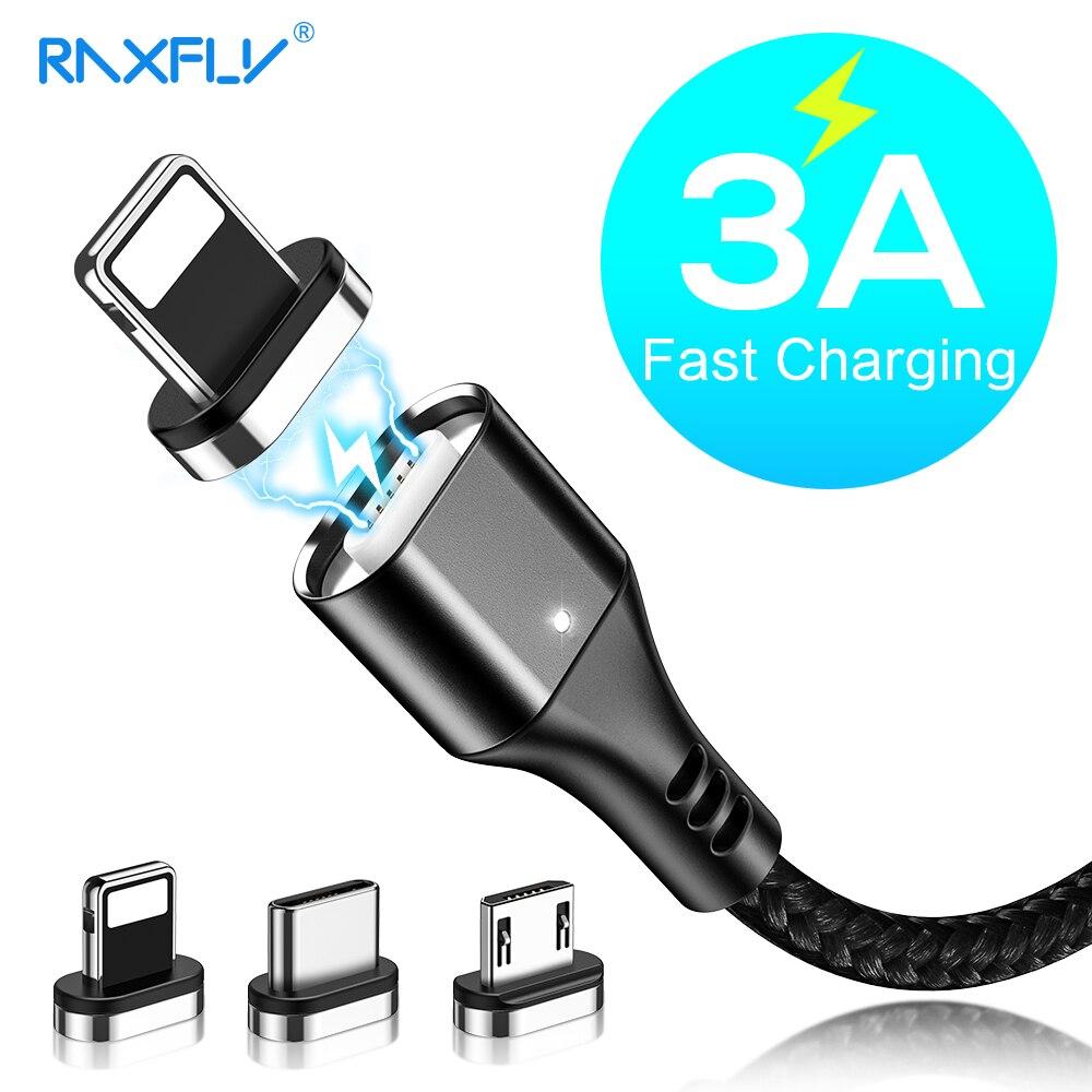 RAXFLY Cable magnético Micro USB tipo C adaptador cargador de carga rápida para iPhone Samsung carga magnética Cable de teléfono móvil