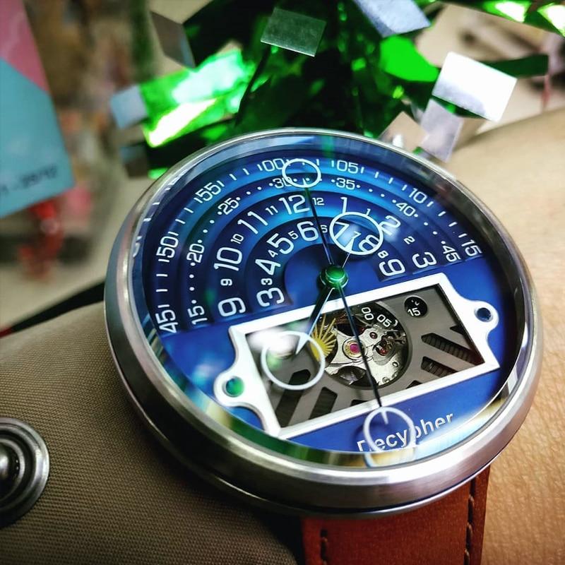 Decypher فاخر الياقوت الرجال التلقائي ساعات آلية للعلامة التجارية ساعات المعصم للرجال مقاوم للماء السويسري ساعة فائقة مضيئة
