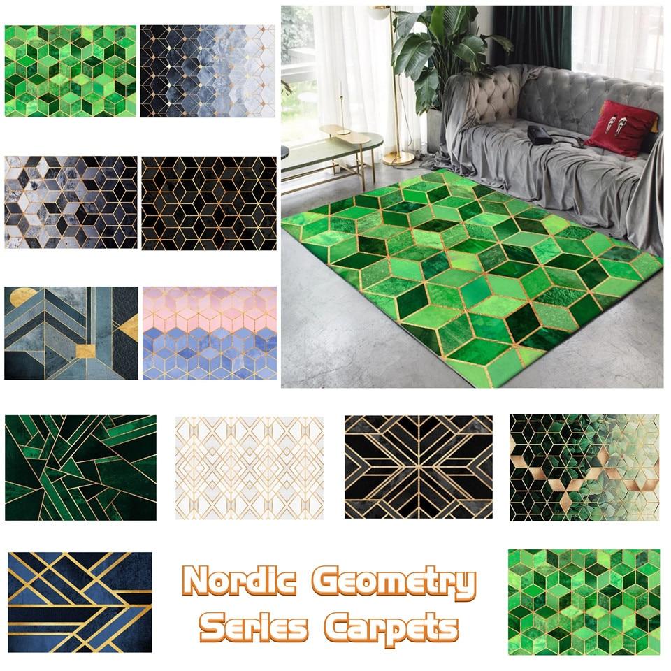 Modern Nordic Geometric Golden Lines Carpet Living Room 3D Marble Pattern Rugs For The Bedroom Kitchen Rug Bathroom Non-slip Mat