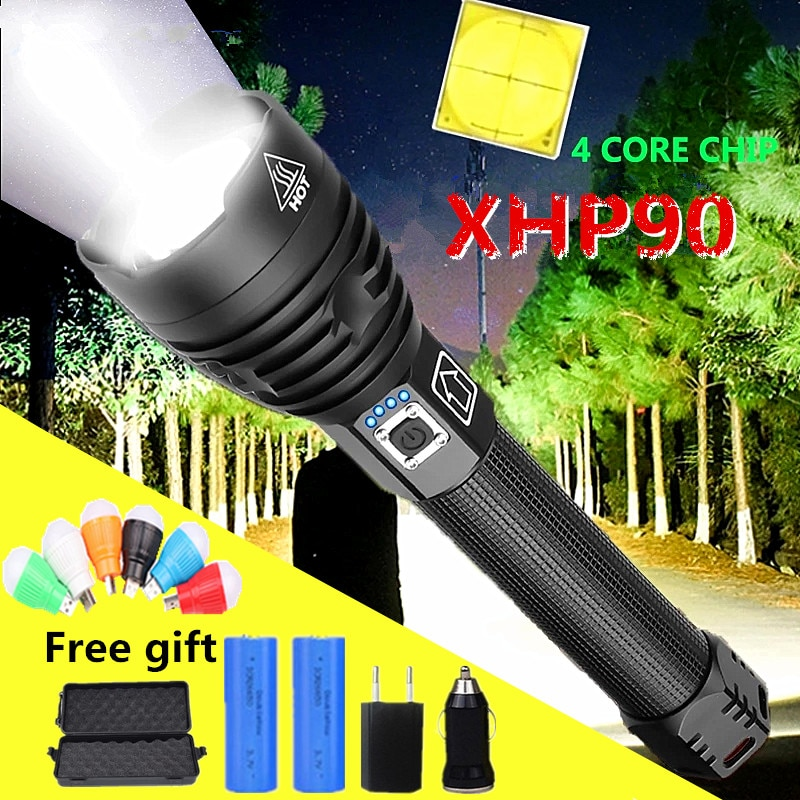80000LM Super Powerful Xlamp XHP90.3 XHP90 LED Flashlight LED Torch USB XHP50 Lamp Zoom Tactical Torch 26650 Rechargeable Battey