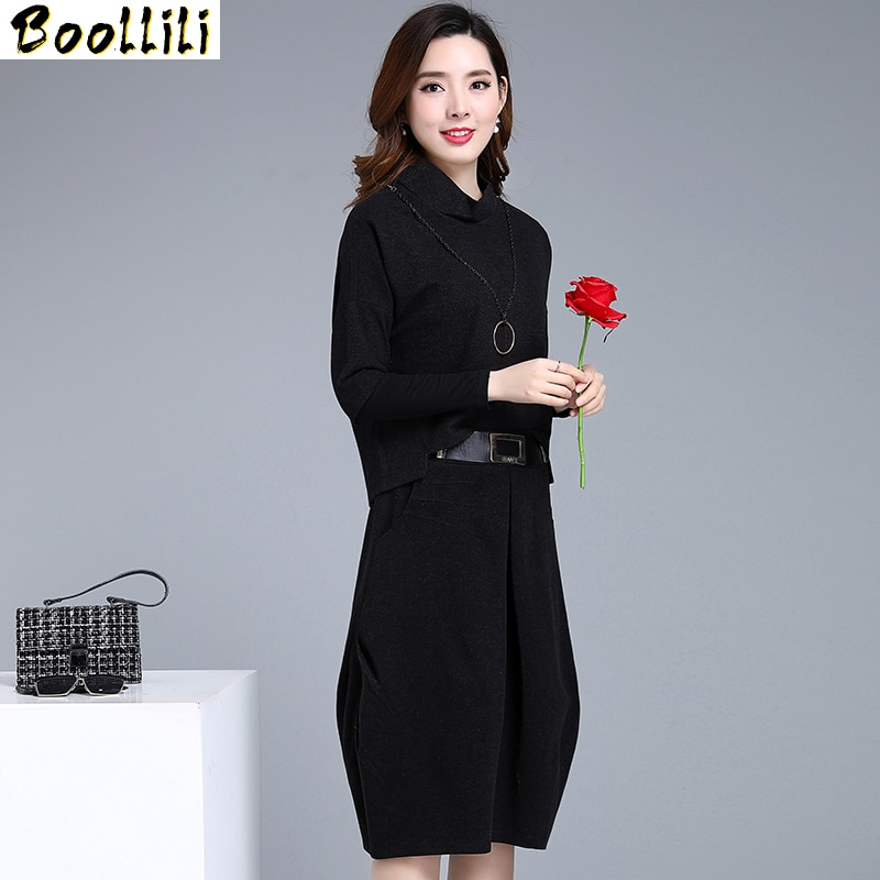 Boollili-فستان مكتب أسود من قطعتين للنساء ، ملابس أنيقة ، مقاس كبير ، مجموعة ربيع وخريف 2020