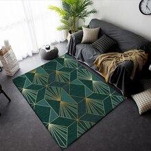 Tapis de salle de séjour moderne   Tapis de luxe, vert or abstrait pour chambre à coucher, paillasson géométrique de chevet, tapis antidérapants, décoration de la maison