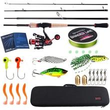 Sougayilang Fishing Rod Combo2.1m Carbon Feiber Travel Spinning Fishing Rod and 14BB Spinning Reel Rod Lure Line Bag Fishing Kit