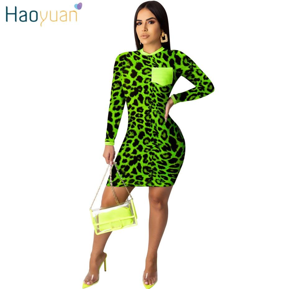 HAOYUAN leopardo guepardo vestido estampado Mujer otoño 2019 ropa de Festival Mini vestido ajustado Vestidos neón manga larga Camiseta vestido