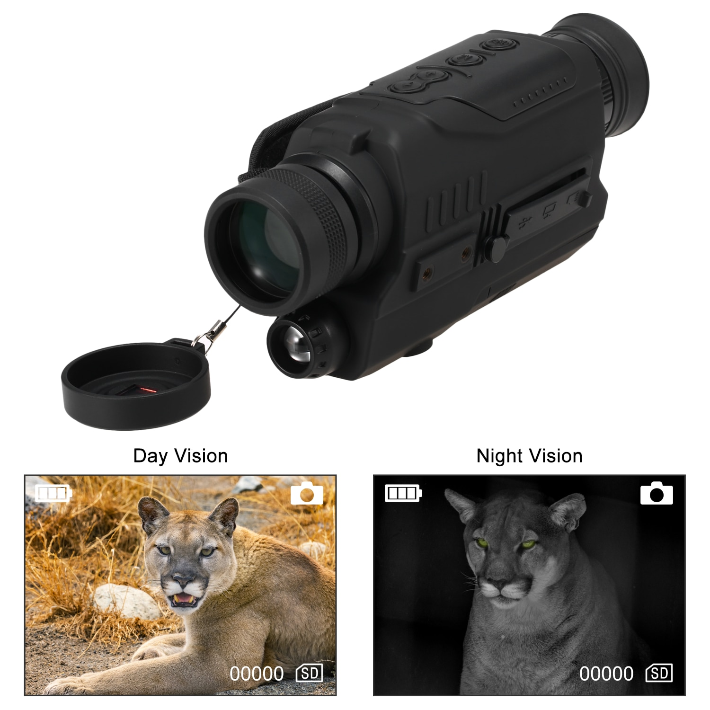 Night Vision Monocular 2x Digital Zoom Water Resistant IR Night Vision Scope with 200M Full Dark Distance Camera Video