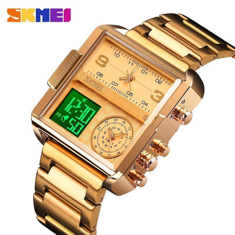 SKMEI-ساعة كوارتز رقمية فاخرة للرجال ، ساعة يد رجالية مقاومة للماء ، إبداعية