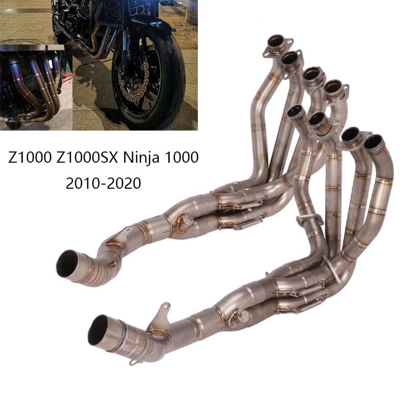 لأنبوب كاواساكي Z1000 Z1000SX Ninja 1000 2010-2020 لرأس ماسورة العادم للدراجات النارية أنبوب الوصلة المتوسطة من الفولاذ المقاوم للصدأ