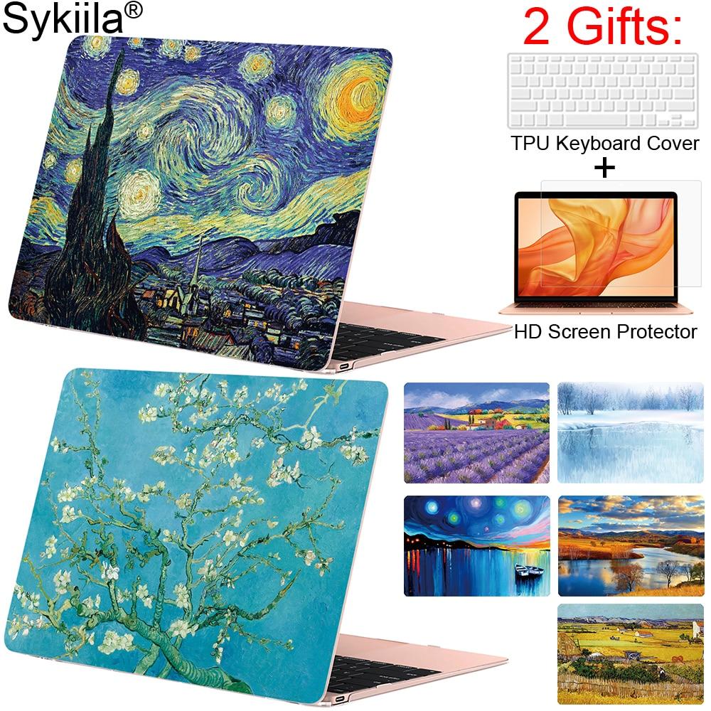 Sykiila etui na macbooka Air 11 13 Pro 12 13 15 okładka sztuka obraz olejny powłoki A1706 A1707 A1989 touch bar 2019 gogha marmuru