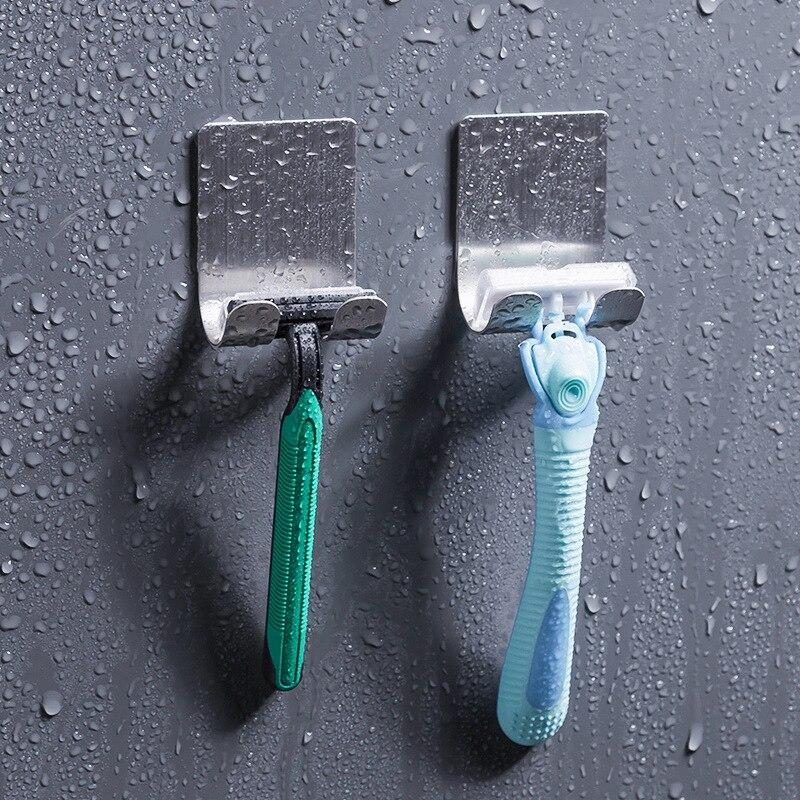 1PC 304 stainless steel Razor Holder Men Shaving Shaver Shelf Shaving Razor Rack Bathroom Home Viscose Wall Hooks Hanger