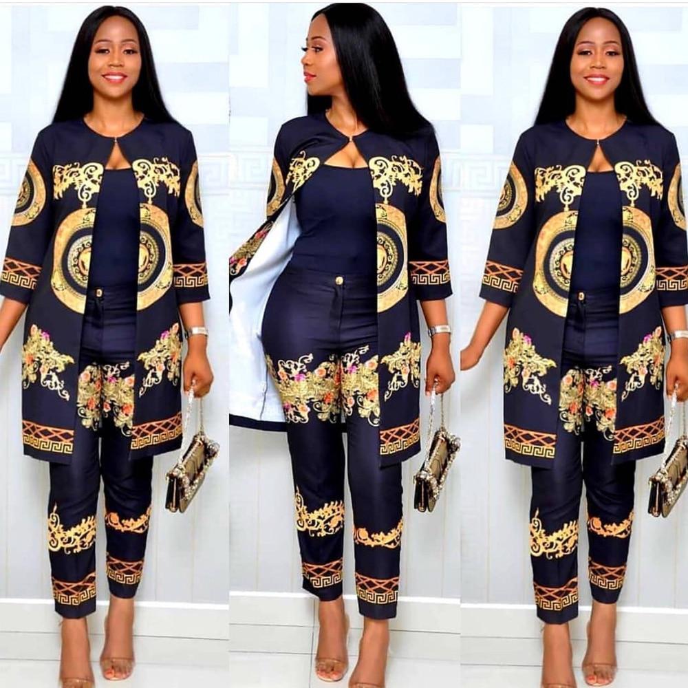 2019 outono africano imprimir elástico bazin baggy calça rock estilo dashiki 3/4 manga famoso terno para mulheres casaco e legging 2 peças conjunto