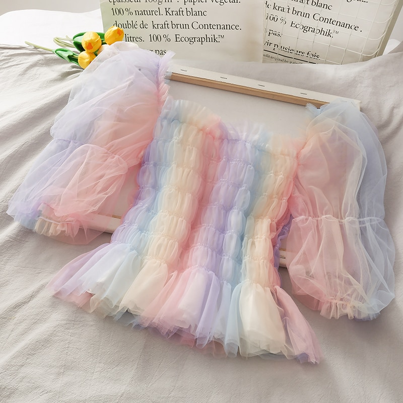 Rainbow Mesh Patchwork Short Blouse Women 2020 Summer Slash Neck Short Puff Sleeve Beach Style Pullover Shirt Tops