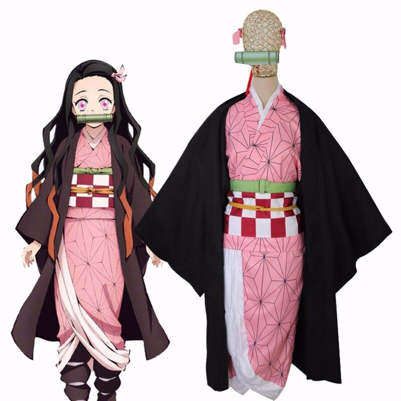 Anime Demon Slayer Kamado Nezuko Cosplay disfraz Kimetsu no Yaiba chicas Rosa Kimono Halloween Disfraces conjunto completo para las mujeres