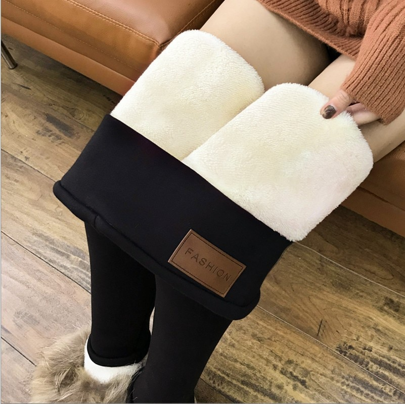 NORMOV Women's Winter Warm Leggings Super-thick High Stretch Lamb Cashmere Leggins High Waist Skinny Trousers