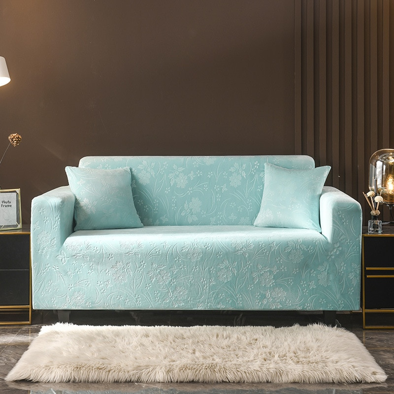 غطاء أريكة مخملي على شكل حرف L لغرفة المعيشة ، وغطاء أثاث مرن ، وغطاء أريكة زاوية طويل