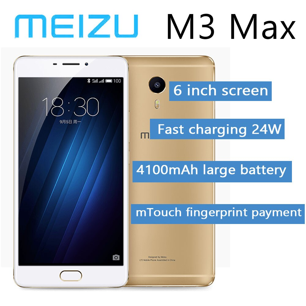 Smartphone 98%new Meizu M3 Max 3G 64G Global Version 4100mAh Battery 6-inch Screen Sony IMX258 Fast charging 24W