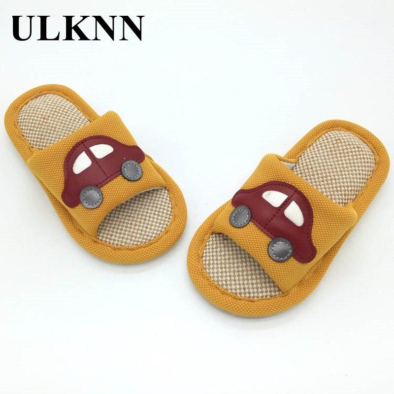 ULKNN/детские тапочки с мультяшным автомобилем; Детская домашняя обувь; Детская обувь для мальчиков и девочек; Домашние весенние льняные тапо...